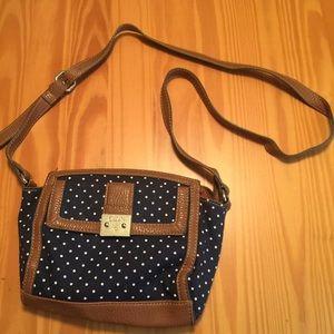 CHAPS crossbody purse polka dots EUC
